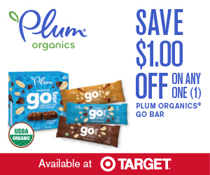 photograph regarding Plum Organics Printable Coupon called Printable Coupon: $1.00 off Plum Organics Move Bars
